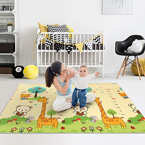 EasySMX Baby Play Mat Large Tummy Time Mat Portable Folding Baby Crawling Mat Puzzle Mat Waterproof Reversible Playmat Foam Non Toxic AntiSlip Kids Play Mat for Infant Toddler