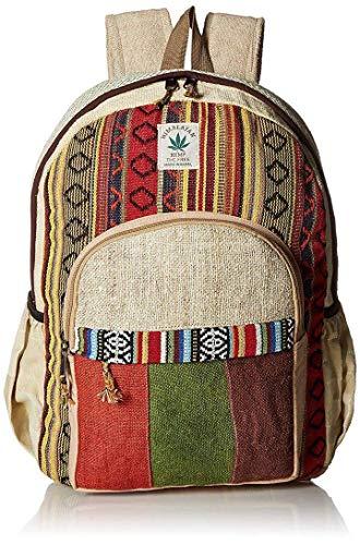 Mochila de algodón a rayas y algodón colorido hecho a mano Nepal con funda para ordenador portátil – Moda linda bolsa de hombro para la escuela de viaje universidad bolsa de hombro/Bookbags/Daypack