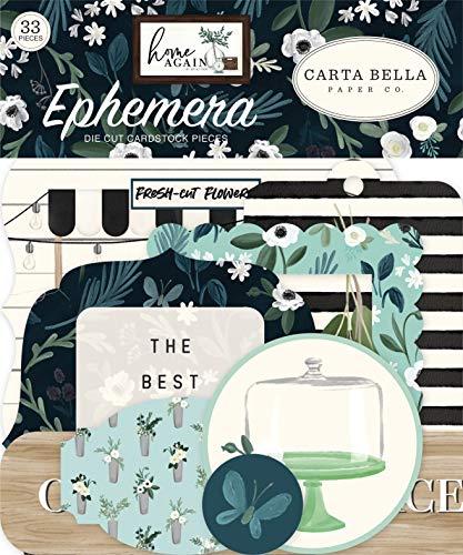 Carta Bella Paper Company CBHOA109024 Home Ephemera, Verde, Azul, Woodgrain, Negro, Verde azulado