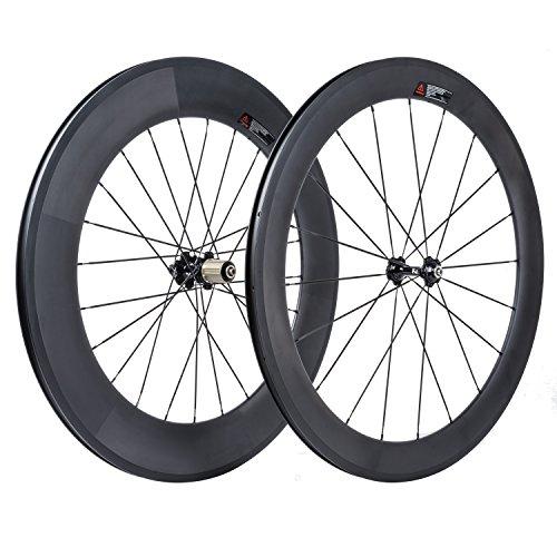 VCYCLE 700C Carretera Bicicleta Carbono Juego de Ruedas Delantera 60mm Trasero 88mm Remachador 23mm Anchura Shimano o Sram 8/9/10/11 Velocidades