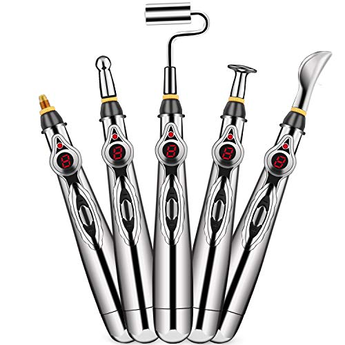 Aobbiy 5-in-1 Electronic Acupuncture Pen, Meridian Energy Pen for Pain Relief. Pain Relief Therapy, Electric Meridians Acupuncture Machine, 1 x AA Battery Needed(Not Included)