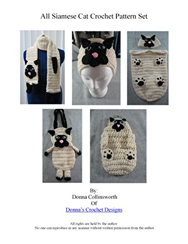Siamese Cat Scarf, Hat, Baby Cocoon, Purse and Coin Purse Set Crochet Pattern (English Edition)