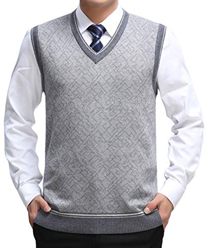 chouyatou Men's Essential V-Neck Slim Patterned Wool Sleeveless Pullover Sweater Vest (X-Large, Light Grey)