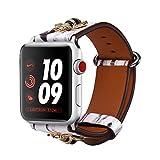 Bandmax Armband kompatibel für Apple Watch 42mm 44mm, Lederarmband Chinesische Malerei Stil Armband...