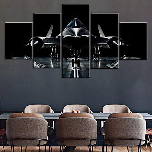 3D Leinwandbilder 5 Teile XXL Vlies Leinwand Bilder Dekoration Lockheed Sr-71 Flugzeug Leinwand Bild Auf Leinwand 5Tlg Bilder Mehrteilig Zum Aufhängen 150×80Cm (Mit Rahmen)
