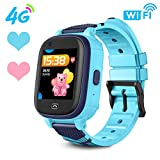 HuaWise 4G Kids Smartwatch/Kids GPS Waterproof Smartwatch/WiFi Phone Call,Video Chat, Real-time Tracking, Geo-Fence Touch Screen Camera SOS Alarm Anti-Lost GPS Tracker for Boys and Girls (Blue)…