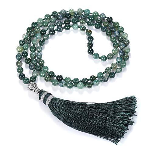 Jovivi - Pulsera de cuentas de oración budista de 6 mm con cuentas de rodocroita natural y ágata musgo 108 cuentas de oración tibetana Mala multicapa con borla, NA., Ágata musgo, 6mm beads