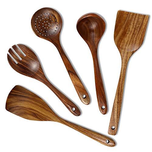 Wooden Utensils Set for Cooking, Chrider Wooden Kitchen Utensils Set for Nonstick Cookware, Wooden Cooking Spoons and Wooden Cooking Salad Fork by Natural