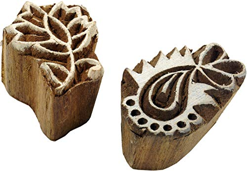 Guru-Shop Indischer Textilstempel, Stoffdruckstempel, Blaudruck Stempel, Holz Modell - Set 16, Braun, 3x2x3 cm, Indische Holzstempel