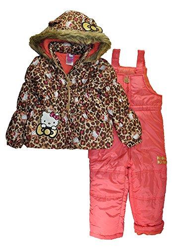 Hello Kitty Little Girls 2pc Printed Snowsuit (Leopard, 2T)