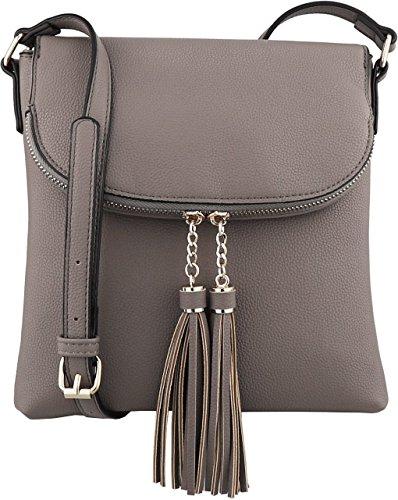 B BRENTANO Vegan Medium Flap-Over Crossbody Handbag with Tassel Accents (Stone(N))