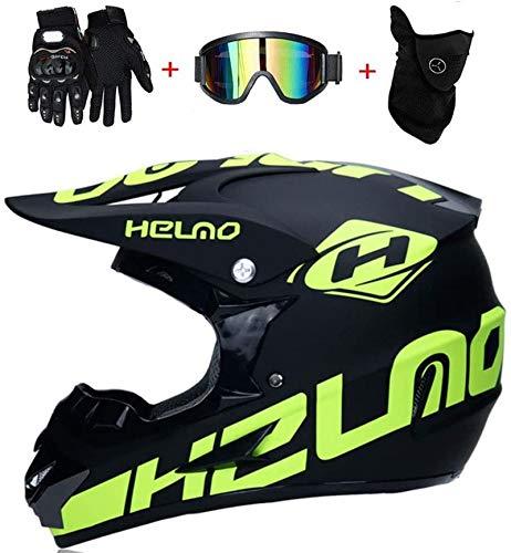 SYANO Casco da moto cross, guanti e occhiali di protezione D.O.T, Casco Moto Bambino Motocross Integrale,Standard, per bambini, Quad Bike ATV Go-kart (S)