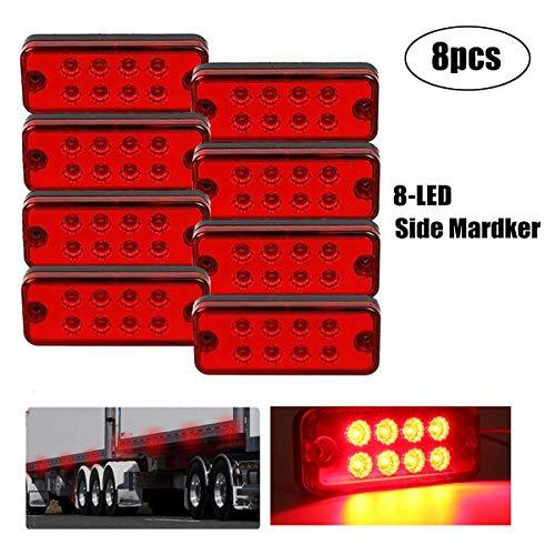 GOFORJUMP 8PCS 12V 8LED Side Marker Lampe Lampe Camion Remorque Camion Caravane Étanche Rouge Indicateur Lumière