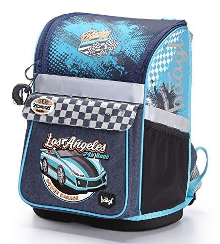 Baagl Schulranzen Jungen 1. Klasse - Ergonomische Schultasche für Kinder - Schulrucksack mit Brustgurt - Grundschule Ranzen (Racer)
