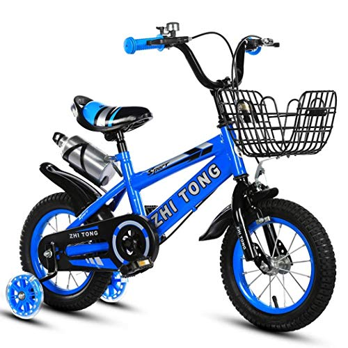 TOUNTLETS Boys Girls Kids Bike Freestyle BMX 2 Hand Brakes Bicycles with Training Wheels & Kettle Red Blue Yellow Child Bicycle for 2-5 Years Old 12 Inch (Blue)