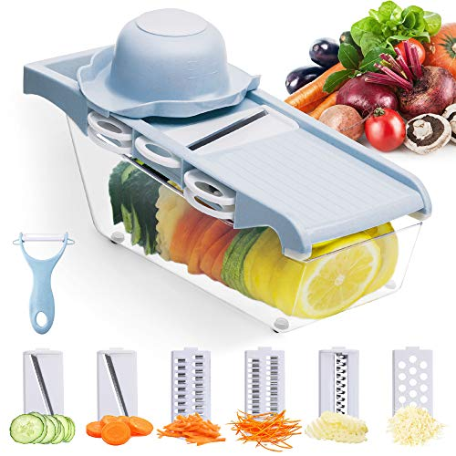 Mandoline Vegetable Slicer, Grater, Shredder, Cutter with 6 Interchangeable Stainless Steel Blades and Protective Finger Guard, Made from Natural Biodegradable Material, Cooking Assistant