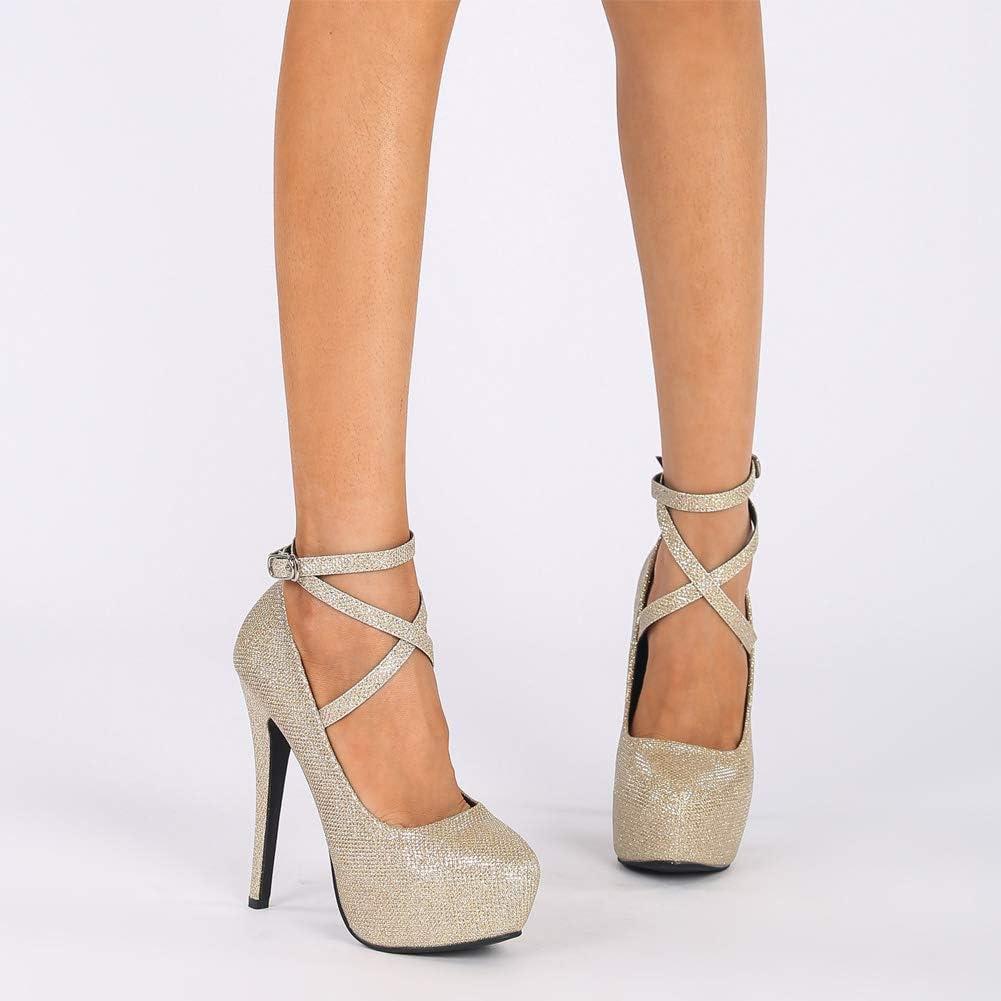 fereshte Womens Ankle Strap Platform High Heels Party Dress Pumps Shoes