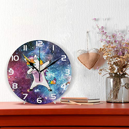 ALAZA Cool Dabbing Unicorn Clock Acrylic Painted Silent Non-Ticking Round Wall Clock Home Art Bedroom Living Dorm Room Decor
