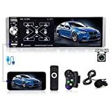 """AMPrime Single Din Car Stereo Radio 4.1"""" Touch Screen AM/FM Bluetooth Car Player Support Voice Control/RDS/USB Input/ Mirror Link for Phone/External Microphone + Backup Camera /Steering Wheel Control"""