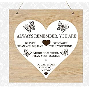 76DinahJordan Braver Than You Think Wood Grain Effect Plaque Shabby Present Gift Christmas Daughter Sister Auntie Mum Best Friend