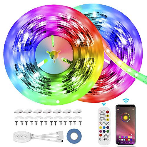 LED Strip Lights, MOSFiATA 23ft Bluetooth Color Changing LED Lights Strip, App Controlled+24 Key Infrared Remote Control, 16 Million Colors RGB Light Strips for Home, Kitchen,TV, Party,Home Decoration
