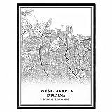 West-Jakarta Indonesien Karte Wandkunst Leinwand drucken