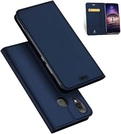 Huawei P20 Lite ケース 手帳型 マグネット カード収納 スタンド機能 PUレザー TPU 耐衝撃 薄型 軽量 手帳 スマホケース YURI-shop (Huawei P20 Lite, ネイビー)