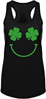 Womens St Patricks Day Workout Tank Tops -Funny Saying Shamrock Crossfit Gym Raceback Sleeveless Shirts for Women