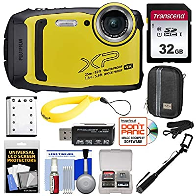 Fujifilm FinePix XP140 Shock & Waterproof Wi-Fi Digital Camera (Yellow) with 32GB + Battery + Case + Selfie Stick + Kit by FUJIFILM