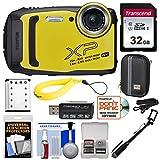 Fujifilm FinePix XP140 Shock & Waterproof Wi-Fi Digital Camera (Yellow) with 32GB + Battery + Case + Selfie Stick + Kit