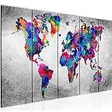 Cuadro en LienzoMapa del Mundo 200 x 80 cm - XXL Impresión Material Tejido no Tejido Artística Imagen Gráfica Decoracion de Pared -5 piezas - Listo para colgar -013355b