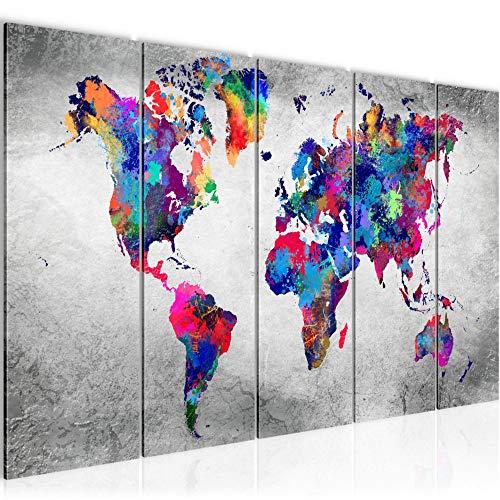 Bilder Weltkarte 200x80 cm Vlies Leinwandbild Bild Wandbilder XXL Format Büro Wohnzimmer Wohnung Deko Kunstdrucke Bunt 5 Teilig - MADE IN GERMANY - Fertig zum Aufhängen 013355b