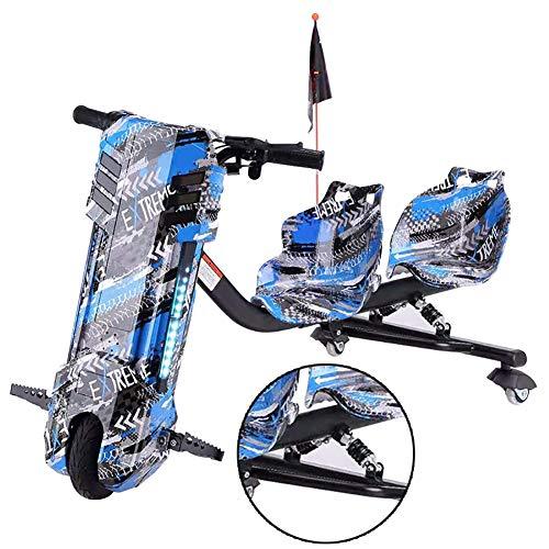 Cityroller Elektro Motor Dreirad Elektrische Drift-Trikes Mit Doppeltem Federstoßdämpfer ABS-Material, Doppelsitzdesign Geeignet Für Vater Und Kind Zusammen Zu Reiten,Blau