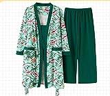 Pigiama da Donna,Verde Moda Autunno Multicolore Stampa Velluto Donna 3 Pezzi Pigiama Set Inverno Vintage Set di Abiti Sexy Elegante Biancheria da Notte Femminile, M.