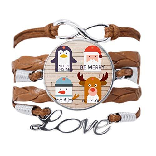 DIYthinker Merry Christmas Tree Reindeer Portrait Bracelet Love Chain Rope Ornament Wristband Gift