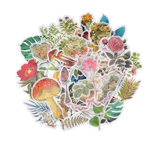 MissOrange 和紙手帳デコ 大きいサイズ 手帳シール かわいい デコレーションステッカー クラシカル 花柄 キノコ ローズ 植物 5パック 300枚入り T-10