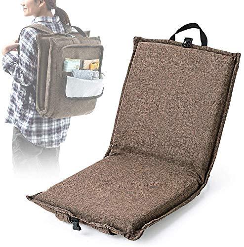 イーサプライ アウトドア座椅子 リクライニング 42段階 コンパクト 折りたたみ 携帯用 布張り 背負える クッション 小物入れ EEX-CH70ZBR