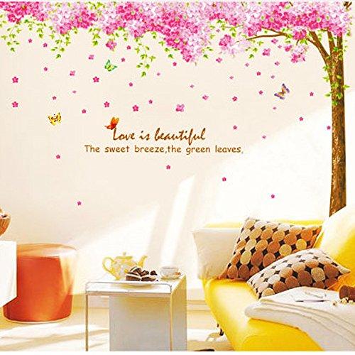 Rainbow Fox Grand autocollant mural amovible en PVC pour crèche et chambre d'enfant filles/garçons, motif fleurs de cerisier, rose, PVC, Xy1096, 250 cm L X 250 cm W