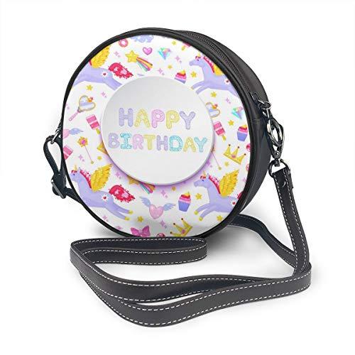 Ronde Schoudertas Echt Lederen Messenger Bag Vintage Crossbody Verstelbare Schouderband Voor Vrouwen Gelukkige Verjaardagskaart Pegasus Eenhoorn Dessert