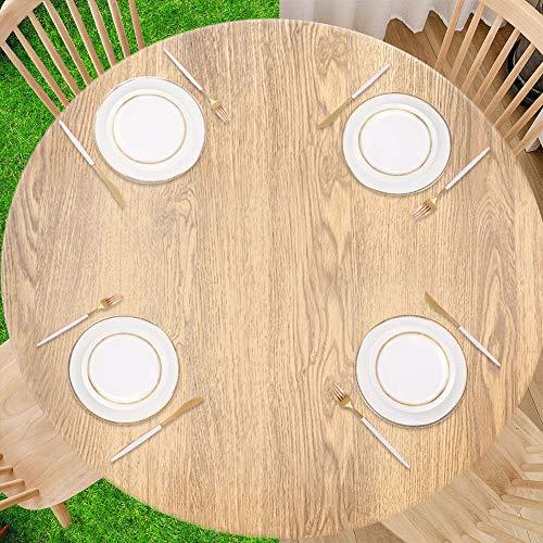 Dihope Runde Kunststofftischdecke PVC Wasserdicht Ölbeständig Verbrühschutz Runde Kunststoff Tischdecke Garten Große Runde Tischdecke Rundes Hotel Runder Tisch(Log,90-110cm)