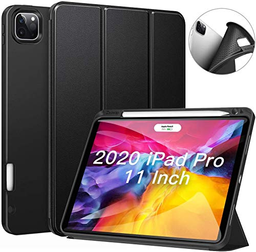 ZtotopCase for iPad Pro 11 Case 2020 with Pencil Holder, Full Body Protective Trifold Stand Auto Wake/Sleep Cover for iPad Pro 11 2nd Generation-Black