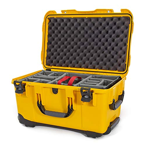 Nanuk 938 Waterproof Hard Case with Wheels and Padded Divider - Yellow, Model Number: 938-2004