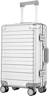 JXSHQS Luggage Cart Trolley Case Caster Aluminum Frame 20 Inch Business Boarding Pass Luggage Waterproof and Lightweight Trolley case (Color : White, Size : 20 inch)