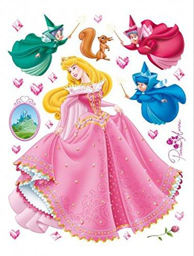 1art1 Dornröschen - Disney Prinzessin Aurora Wand-Tattoo | Deko Wandaufkleber für Wohnzimmer Kinderzimmer Küche Bad Flur | Wandsticker für Tür Wand Möbel/Schrank 65 x 42 cm