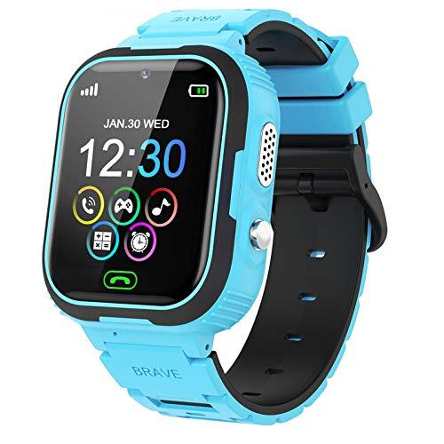 PTHTECHUS Kinder Spiel Smartwatch Telefon, Kind Armbanduhr mit Digitalkamera, Arten von Spiele Wecker SOS, Touchscreen Smart Watch mit Musik Player, Geschenk für Jungen und Mädchen Studenten (Blau)