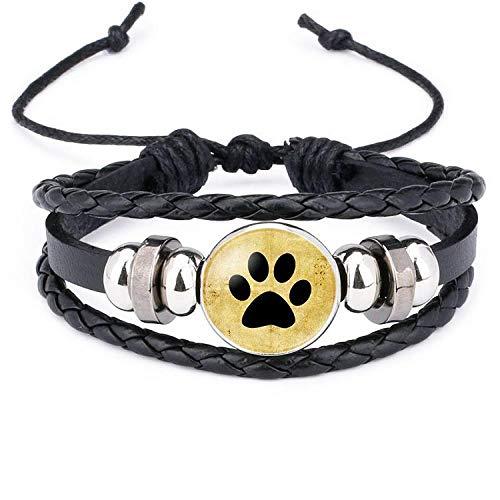 Joyería pies pequeños, huellas de perro, patas de oso, piedras preciosas, pulsera de piel de vaca tejida a mano-12010601