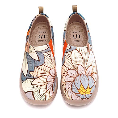 UIN Women's Lightweight Slip Ons Sneakers Walking Flats Casual Flower Art Painted Travel Shoes Oopsie Daisy (Nelumbo, 6)