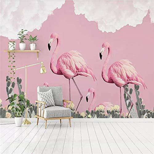 DZBHSCL 4D behang wandschilderingen, Nordic cartoon roze flamingo dier cactus plant kunstdruk grootte fotobehang voor kinderkamer kinderkamer achtergrond wanddecoratie 116in×192in 290cm(H)×480cm(W)