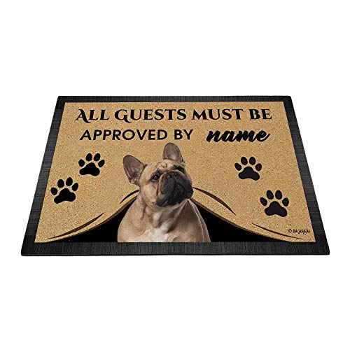 BAGEYOU All Guests Must be Approved Doormat with My Love Dog French Bulldog Welcome Floor Mat Custom Name 23.6' X 15.7'