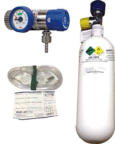 1 Liter Sauerstoffflasche gefüllt, mit Druckminderer Rescue 25, regelbar 1-25 l/min
